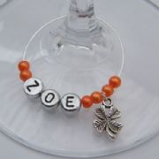 Four Leaf Clover Personalised Wine Glass Charm